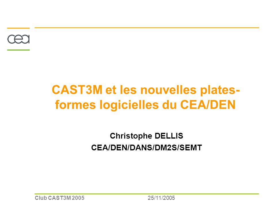 25/11/2005Club CAST3M 2005 CAST3M et les nouvelles plates- formes logicielles du CEA/DEN Christophe DELLIS CEA/DEN/DANS/DM2S/SEMT