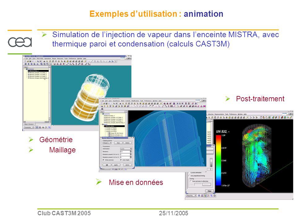 25/11/2005Club CAST3M 2005 Exemples dutilisation : animation Simulation de linjection de vapeur dans lenceinte MISTRA, avec thermique paroi et condensation (calculs CAST3M) Géométrie Maillage Mise en données Post-traitement