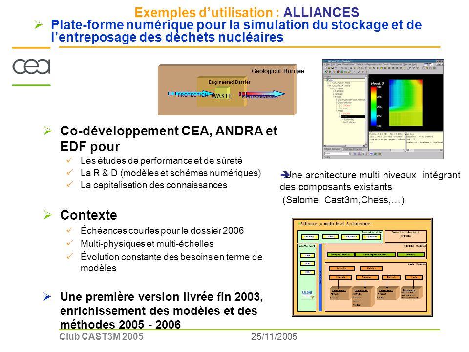 25/11/2005Club CAST3M 2005 Exemples dutilisation : ALLIANCES Plate-forme numérique pour la simulation du stockage et de lentreposage des déchets nucléaires Co-développement CEA, ANDRA et EDF pour Les études de performance et de sûreté La R & D (modèles et schémas numériques) La capitalisation des connaissances Contexte Échéances courtes pour le dossier 2006 Multi-physiques et multi-échelles Évolution constante des besoins en terme de modèles Une première version livrée fin 2003, enrichissement des modèles et des méthodes 2005 - 2006 COLIS Barrière Ouvragée Barrière géologique PROTEGER WASTE Engineered Barrier Geological Barrier PROTECTION RETARDER RETARDATION Une architecture multi-niveaux intégrant des composants existants (Salome, Cast3m,Chess,…) Alliances, a multi-level Architecture : Salomé Modules Geometry Mesh VisualizationSupervision DATA Model Coupled Modules Transport ChemistryWaste Engineered BarrierSensibility Salomé Core Core Study MED Textual and Graphical Interface Basic Modules SamplingStatistics HydraulicTransportWasteChemistry Components : -PORFLOW -CAST3M Components : -PORFLOW -CAST3M -MT3D -TRACES Components : -PREDIVER (Glass) -COLONBO (Bitumen) -Generic Waste Package Components : -PHREEQC -CHESS