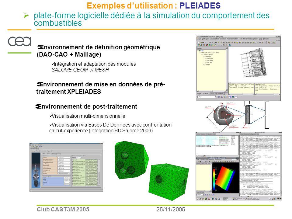 25/11/2005Club CAST3M 2005 CE A/L IA C Exemples dutilisation : PLEIADES plate-forme logicielle dédiée à la simulation du comportement des combustibles Environnement de post-traitement Visualisation multi-dimensionnelle Visualisation via Bases De Données avec confrontation calcul-expérience (intégration BD Salomé 2006) Environnement de mise en données de pré- traitement XPLEIADES Environnement de définition géométrique (DAO-CAO + Maillage) Intégration et adaptation des modules SALOME GEOM et MESH
