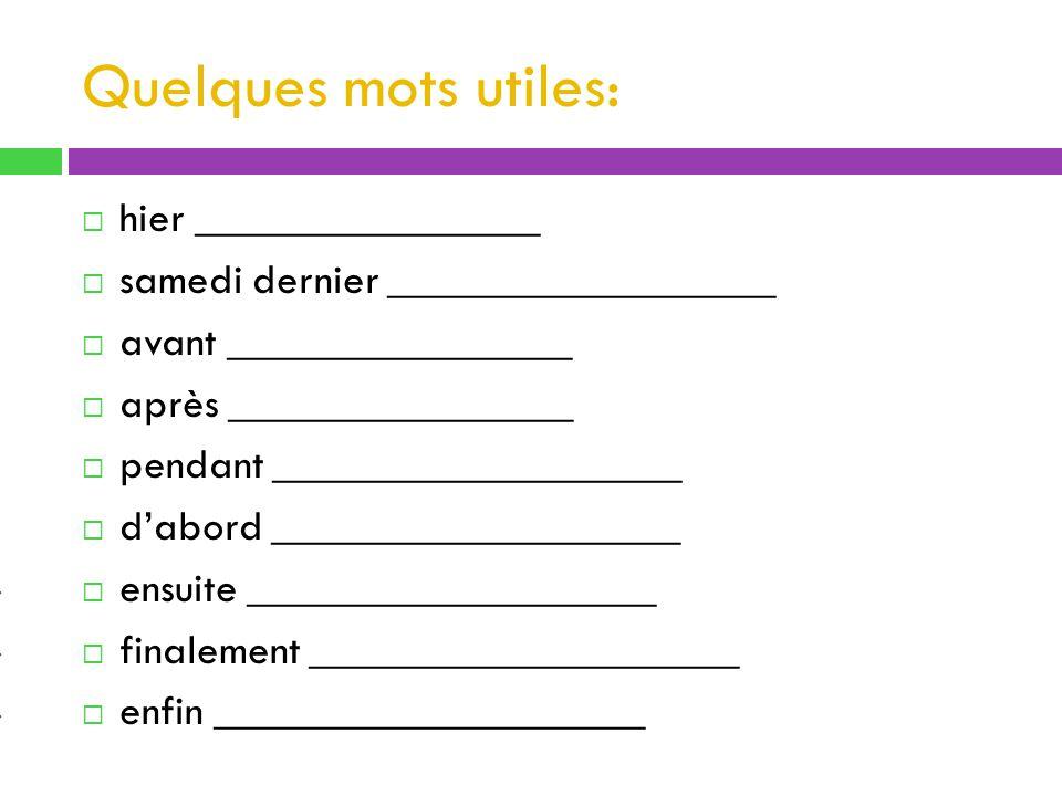 Passé composé - avoir ou être.Any verb besides the 17 verbs in the house of être.
