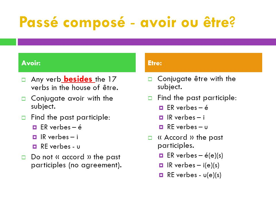 Passé composé - avoir ou être.Any verb besides the 17 verbs in the house of être.