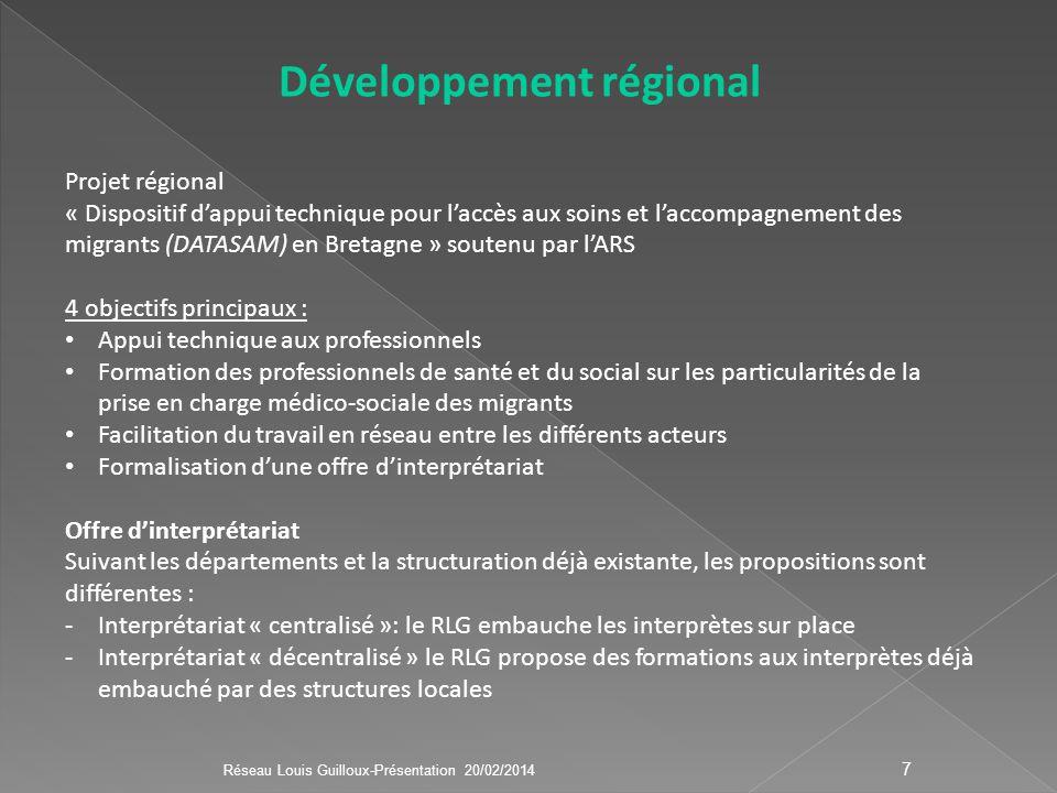 7 Développement régional Projet régional « Dispositif dappui technique pour laccès aux soins et laccompagnement des migrants (DATASAM) en Bretagne » s