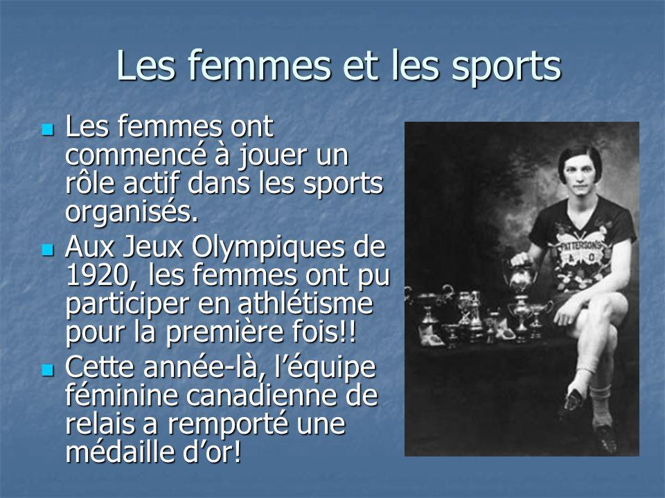 Les femmes et les sports Les femmes ont commencé à jouer un rôle actif dans les sports organisés. Les femmes ont commencé à jouer un rôle actif dans l