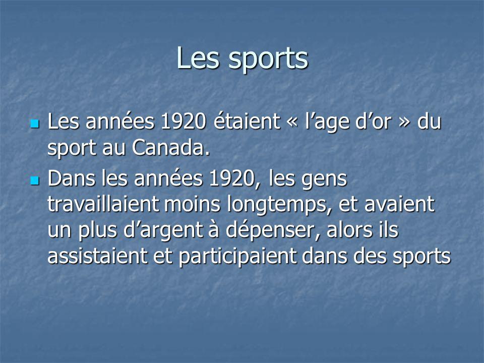Les sports Les années 1920 étaient « lage dor » du sport au Canada. Les années 1920 étaient « lage dor » du sport au Canada. Dans les années 1920, les