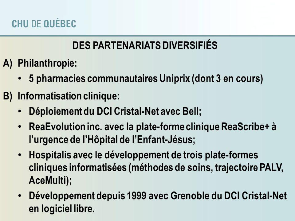 DES PARTENARIATS DIVERSIFIÉS (suite) C)Formation et transferts des connaissances: Nosotech inc.