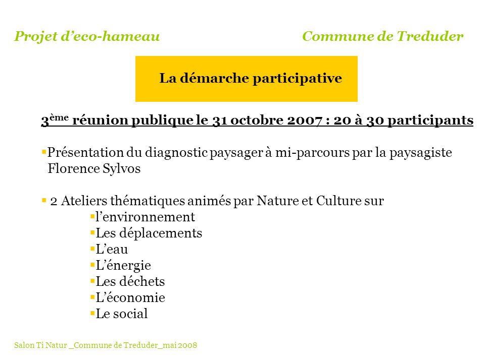 3 ème réunion publique le 31 octobre 2007 : 20 à 30 participants Présentation du diagnostic paysager à mi-parcours par la paysagiste Florence Sylvos 2