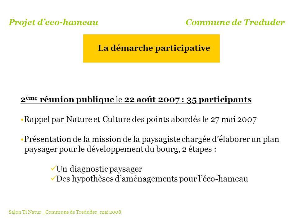 2 ème réunion publique le 22 août 2007 : 35 participants Rappel par Nature et Culture des points abordés le 27 mai 2007 Présentation de la mission de