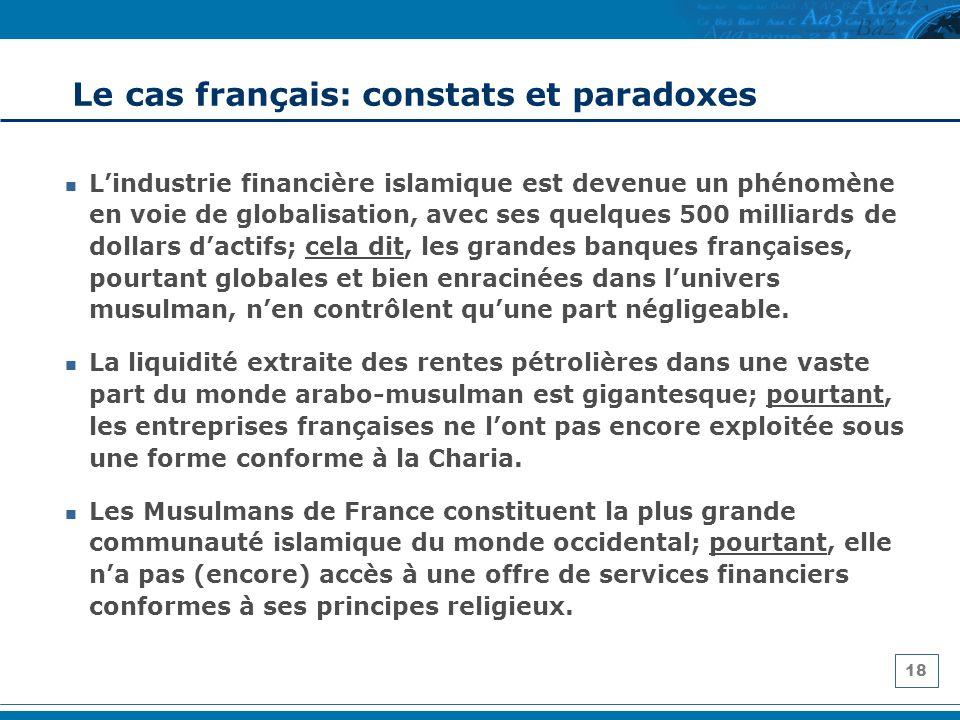 18 Le cas français: constats et paradoxes Lindustrie financière islamique est devenue un phénomène en voie de globalisation, avec ses quelques 500 mil
