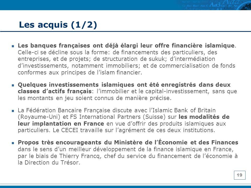 19 Les acquis (1/2) Les banques françaises ont déjà élargi leur offre financière islamique. Celle-ci se décline sous la forme: de financements des par
