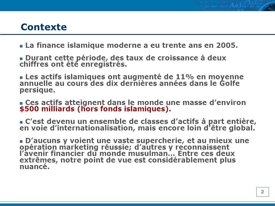 2 Contexte La finance islamique moderne a eu trente ans en 2005. Durant cette période, des taux de croissance à deux chiffres ont été enregistrés. Les