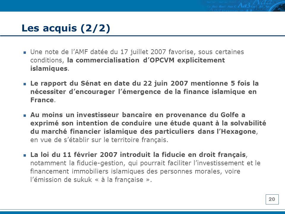 20 Les acquis (2/2) Une note de lAMF datée du 17 juillet 2007 favorise, sous certaines conditions, la commercialisation dOPCVM explicitement islamique