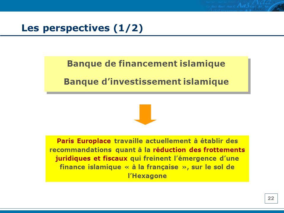 22 Les perspectives (1/2) Banque de financement islamique Banque dinvestissement islamique Banque de financement islamique Banque dinvestissement isla