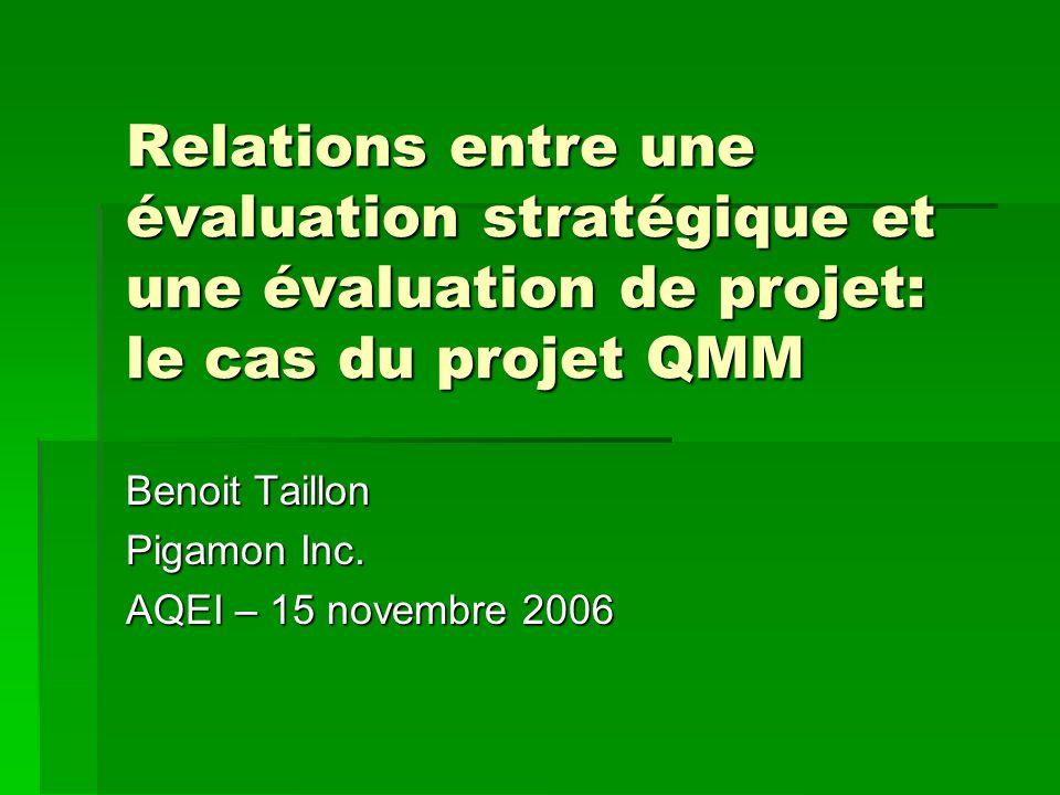 Relations entre une évaluation stratégique et une évaluation de projet: le cas du projet QMM Benoit Taillon Pigamon Inc.