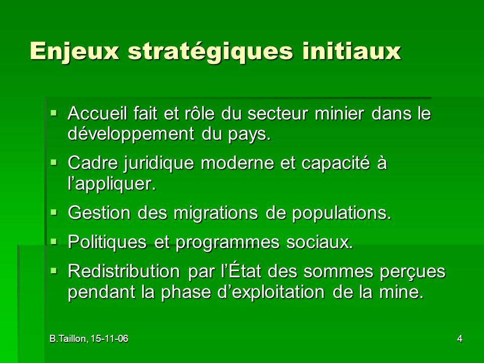 B.Taillon, 15-11-064 Enjeux stratégiques initiaux Accueil fait et rôle du secteur minier dans le développement du pays.