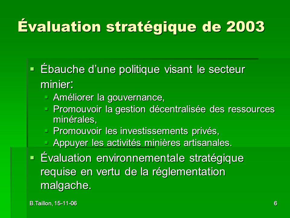 B.Taillon, 15-11-067 Accueil et rôle des mines industrielles.