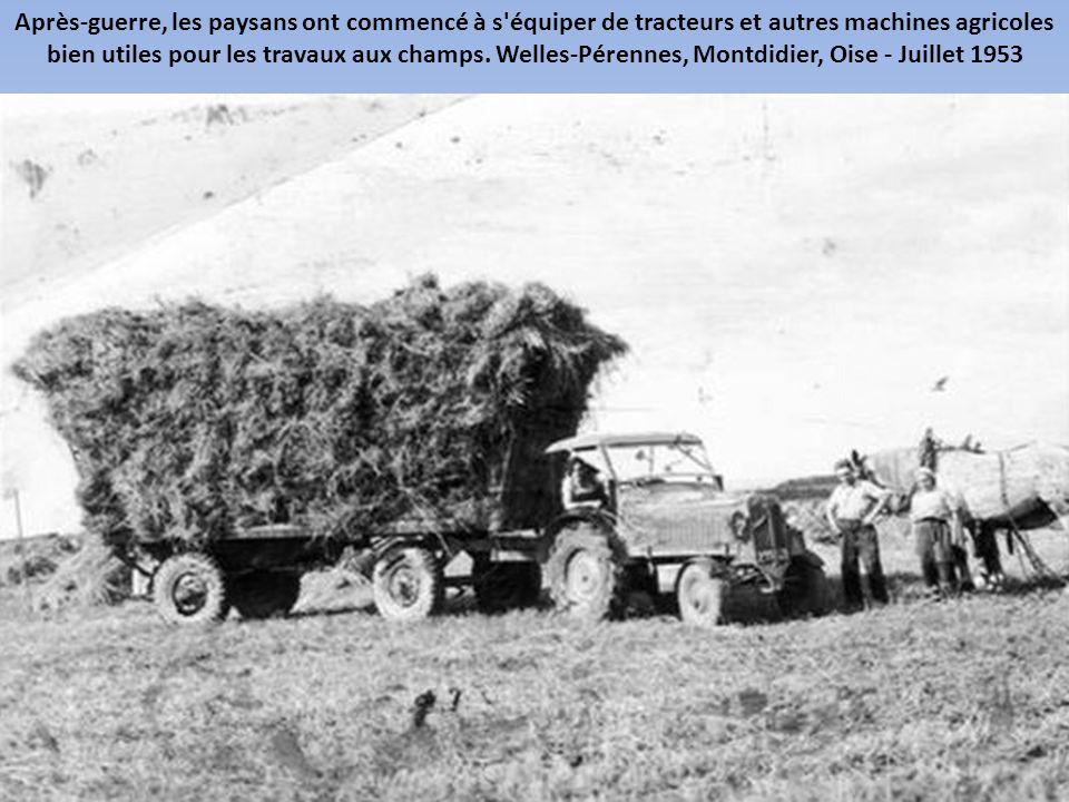 Les premières moissonneuses-batteuses ont été construites par Claas en Allemagne. A l'image, une batteuse. Indre-et-Loire, France - Juillet 1946