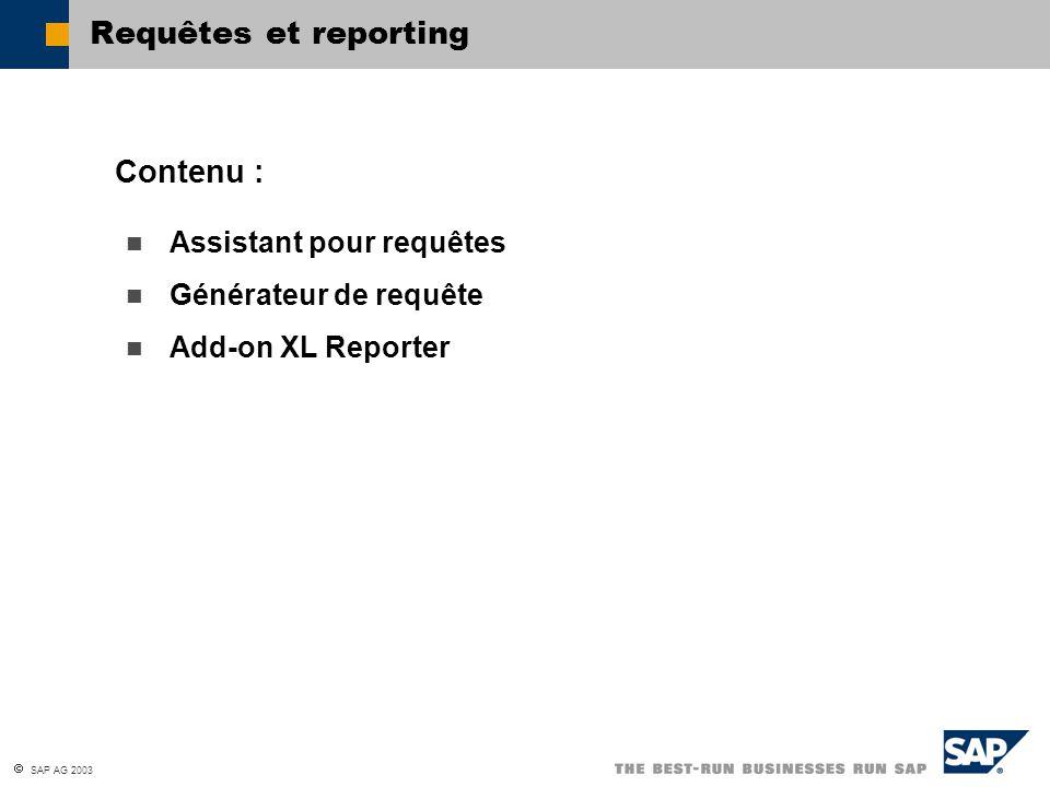 SAP AG 2003 Assistant pour requêtes Générateur de requête Add-on XL Reporter Contenu : Requêtes et reporting