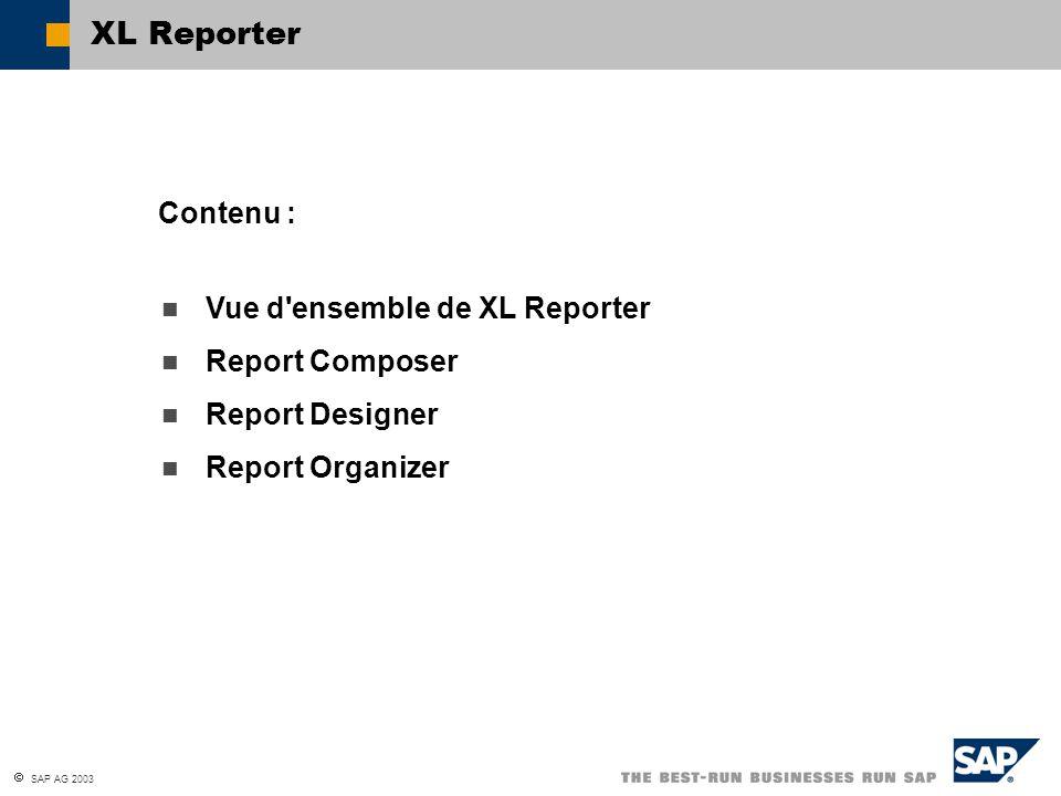 SAP AG 2003 Vue d'ensemble de XL Reporter Report Composer Report Designer Report Organizer Contenu : XL Reporter