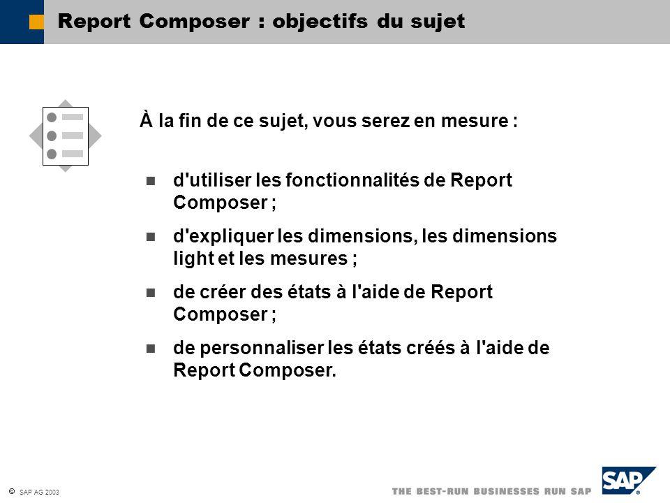 SAP AG 2003 d'utiliser les fonctionnalités de Report Composer ; d'expliquer les dimensions, les dimensions light et les mesures ; de créer des états à
