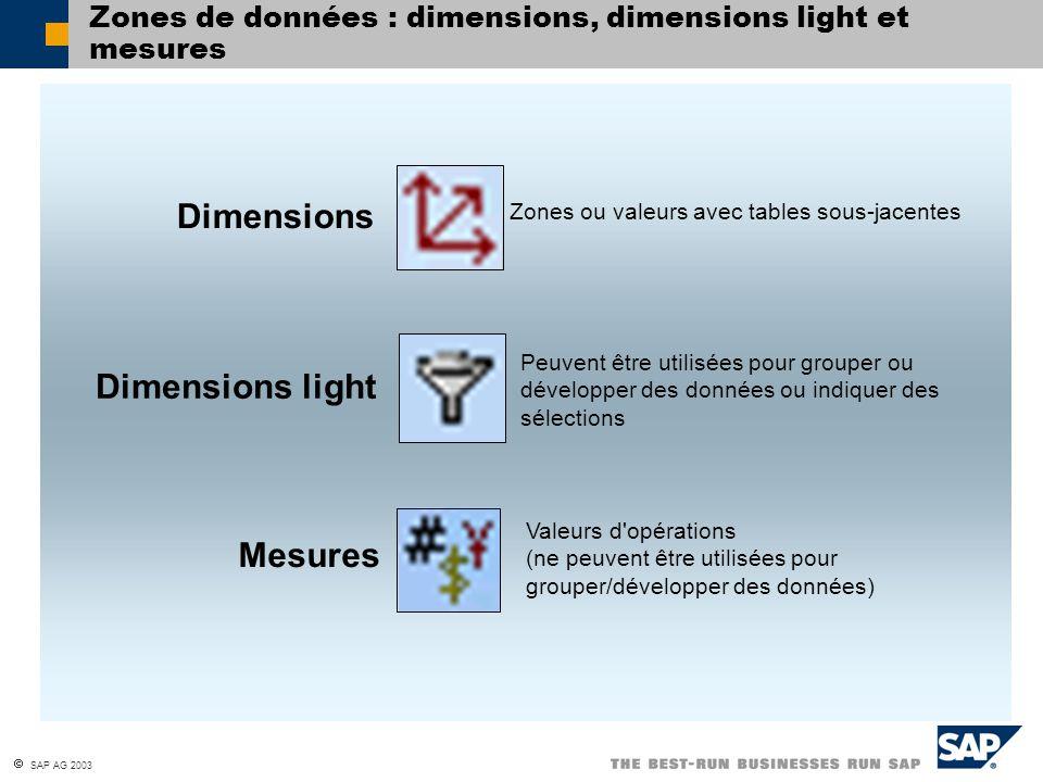 SAP AG 2003 Zones de données : dimensions, dimensions light et mesures Dimensions Dimensions light Mesures Zones ou valeurs avec tables sous-jacentes