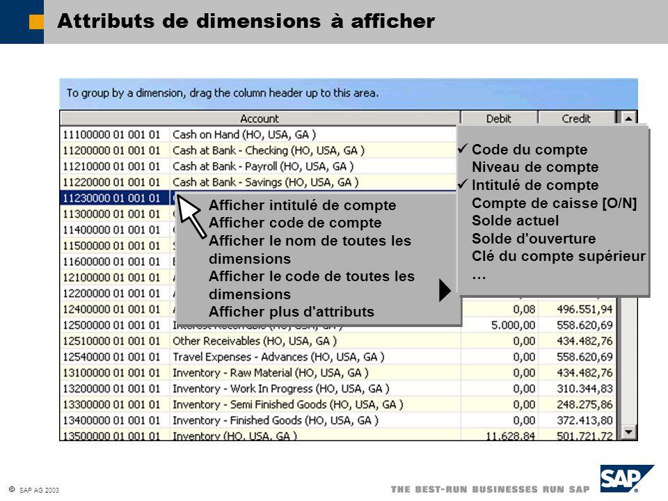 SAP AG 2003 Attributs de dimensions à afficher Afficher intitulé de compte Afficher code de compte Afficher le nom de toutes les dimensions Afficher l