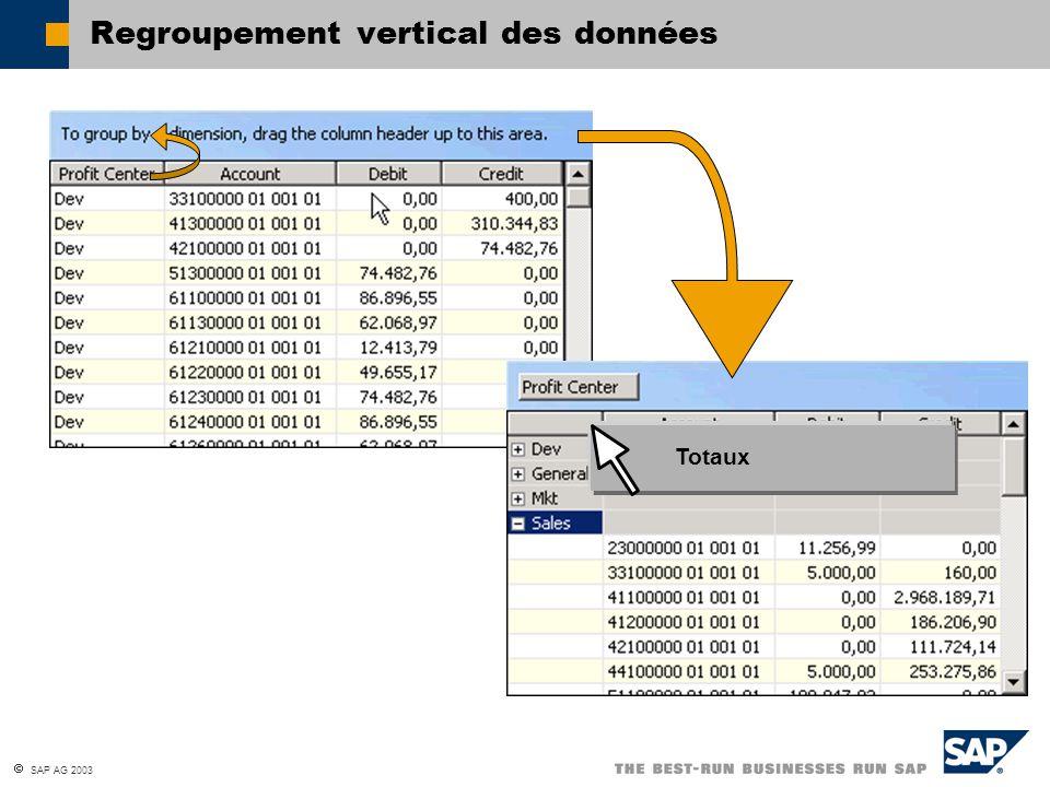 SAP AG 2003 Regroupement vertical des données Totaux