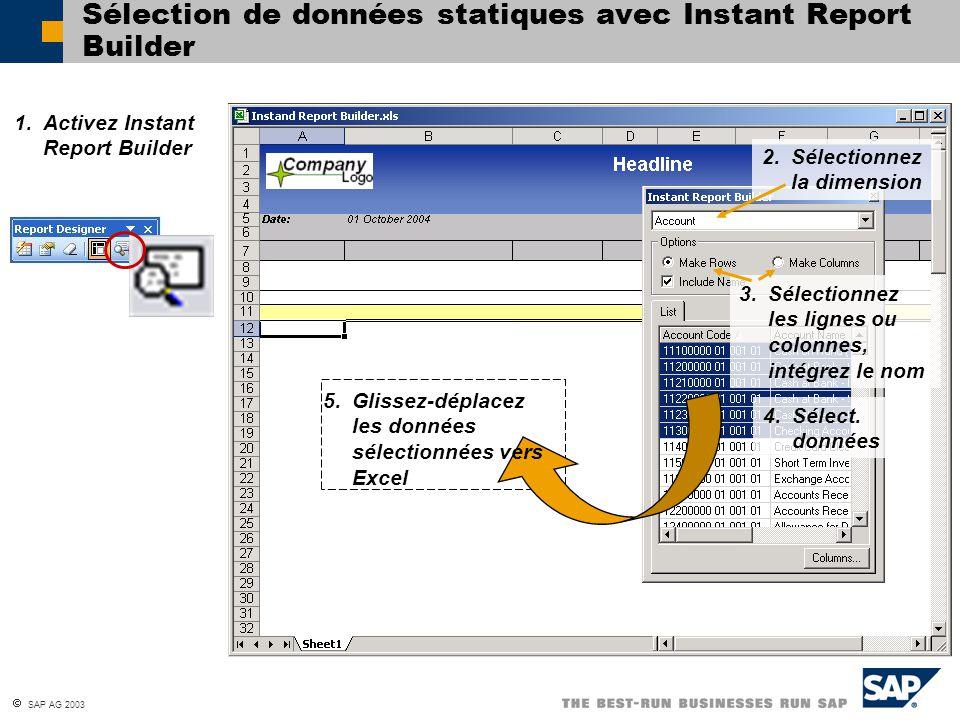 SAP AG 2003 Sélection de données statiques avec Instant Report Builder 2. Sélectionnez la dimension 3. Sélectionnez les lignes ou colonnes, intégrez l