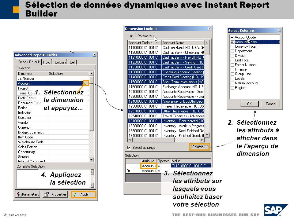 SAP AG 2003 Sélection de données dynamiques avec Instant Report Builder 1. Sélectionnez la dimension et appuyez... 2. Sélectionnez les attributs à aff