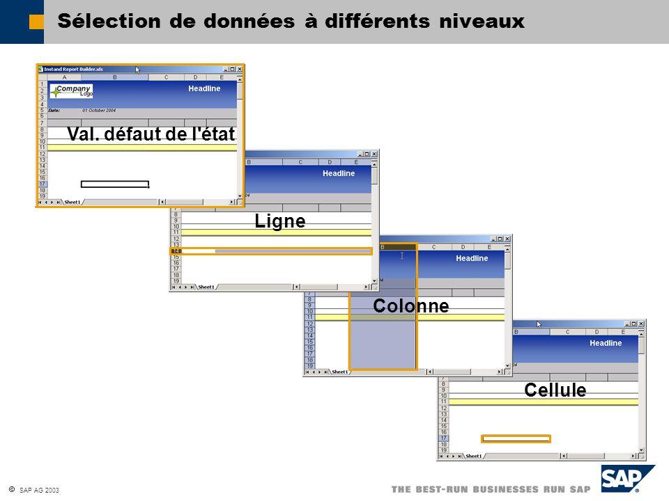 SAP AG 2003 Colonne Ligne Cellule Val. défaut de l'état Sélection de données à différents niveaux