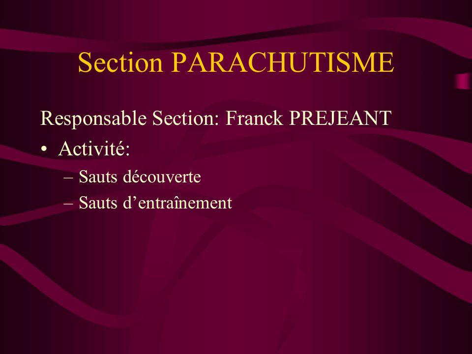 Section PARACHUTISME Responsable Section: Franck PREJEANT Activité: –Sauts découverte –Sauts dentraînement