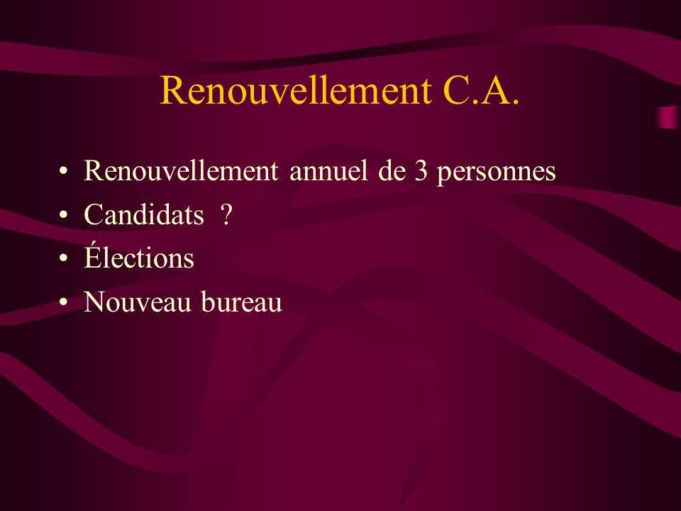 Renouvellement C.A. Renouvellement annuel de 3 personnes Candidats ? Élections Nouveau bureau