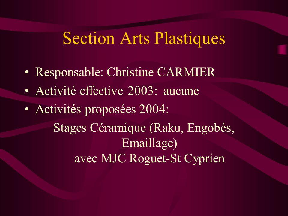 Section Arts Plastiques Responsable: Christine CARMIER Activité effective 2003: aucune Activités proposées 2004: Stages Céramique (Raku, Engobés, Emai