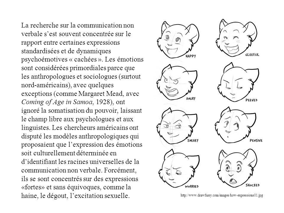 La recherche sur la communication non verbale sest souvent concentrée sur le rapport entre certaines expressions standardisées et de dynamiques psycho