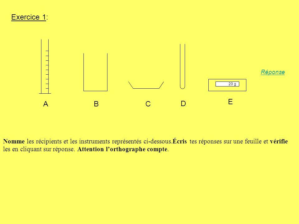 A : une éprouvette graduée B: un bécher C: une coupelle D: un tube à essai E: une balance Vérifie bien lorthographe de chaque mot Revenir à la liste des compétencesRevenir à la liste des compétences Exercices suivantsExercices suivants