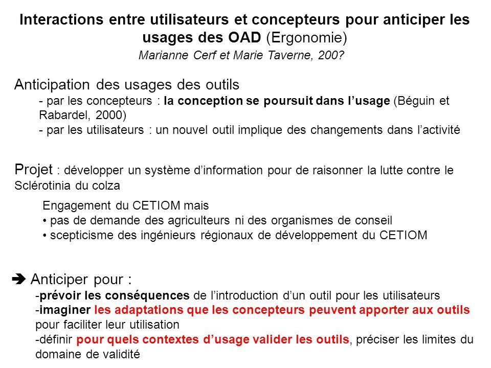 Interactions entre utilisateurs et concepteurs pour anticiper les usages des OAD (Ergonomie) Marianne Cerf et Marie Taverne, 200.