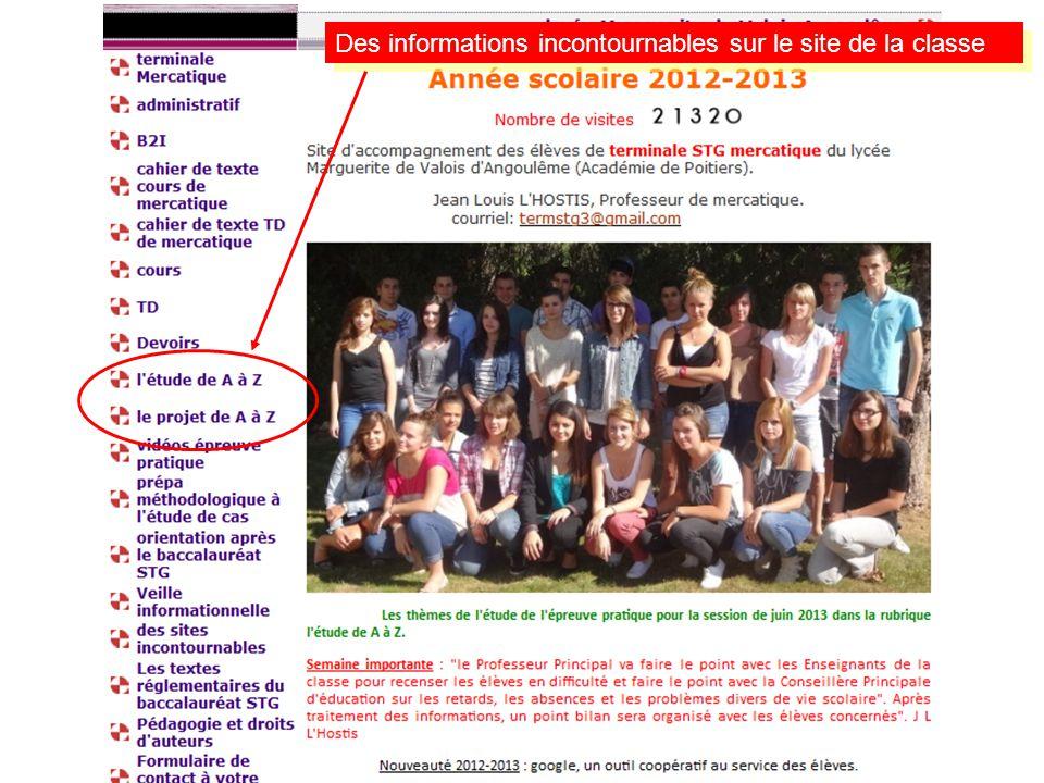 Des informations incontournables sur le site de la classe