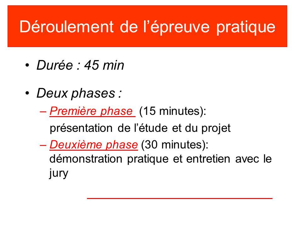 Déroulement de lépreuve pratique Durée : 45 min Deux phases : –Première phase (15 minutes): présentation de létude et du projet –Deuxième phase (30 mi