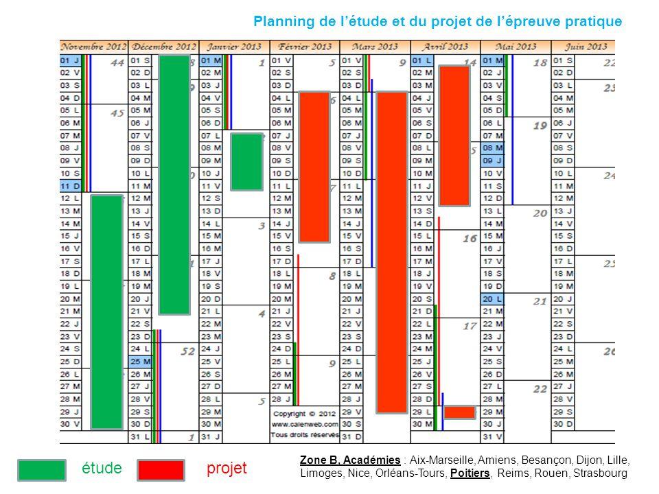 Planning de létude et du projet de lépreuve pratique Zone B, Académies : Aix-Marseille, Amiens, Besançon, Dijon, Lille, Limoges, Nice, Orléans-Tours,