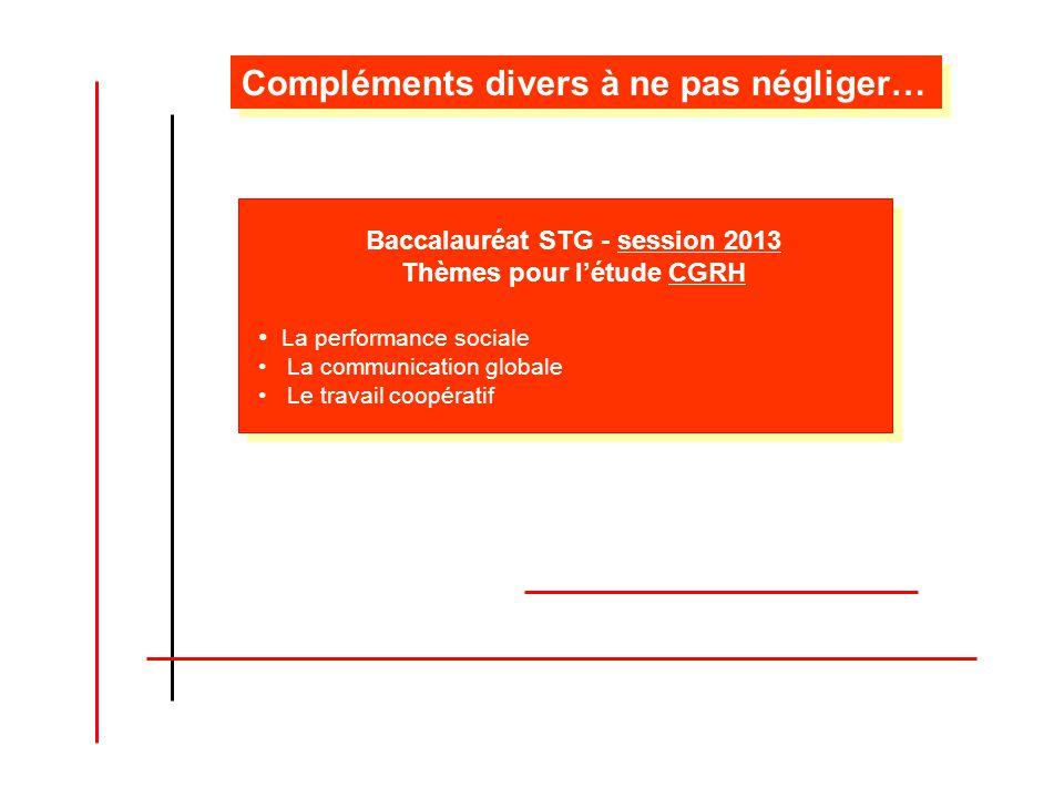 Baccalauréat STG - session 2013 Thèmes pour létude CGRH La performance sociale La communication globale Le travail coopératif Compléments divers à ne