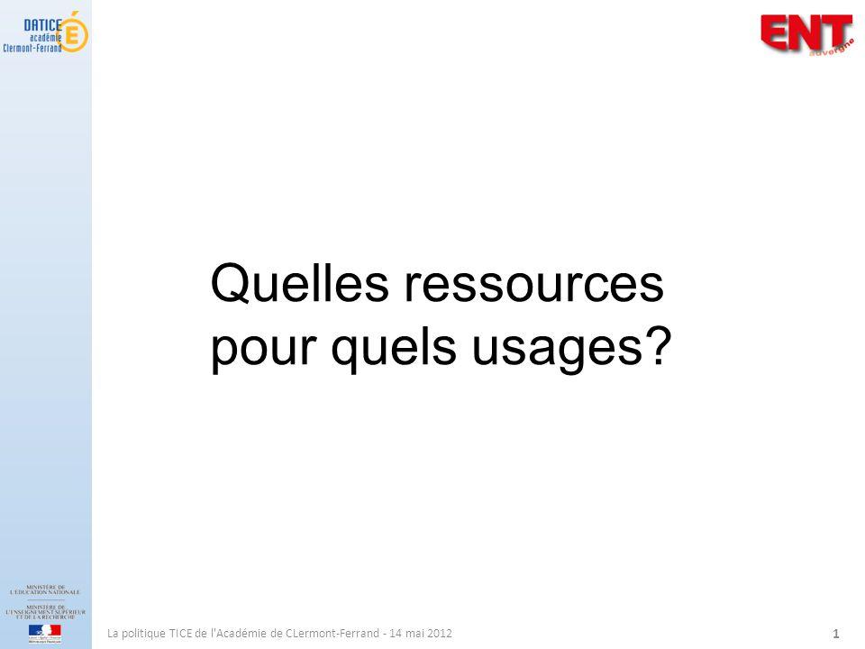 La politique TICE de l Académie de CLermont-Ferrand - 14 mai 2012 1 Quelles ressources pour quels usages?