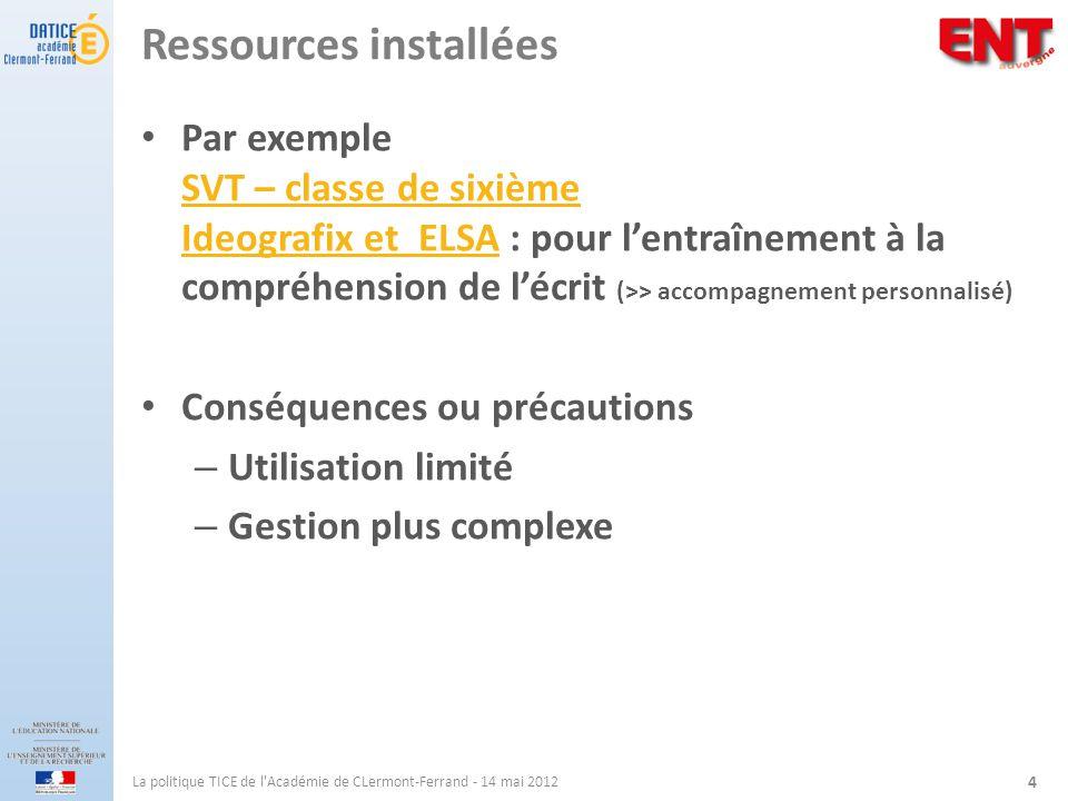 Ressources installées Par exemple SVT – classe de sixième Ideografix et ELSA : pour lentraînement à la compréhension de lécrit (>> accompagnement pers