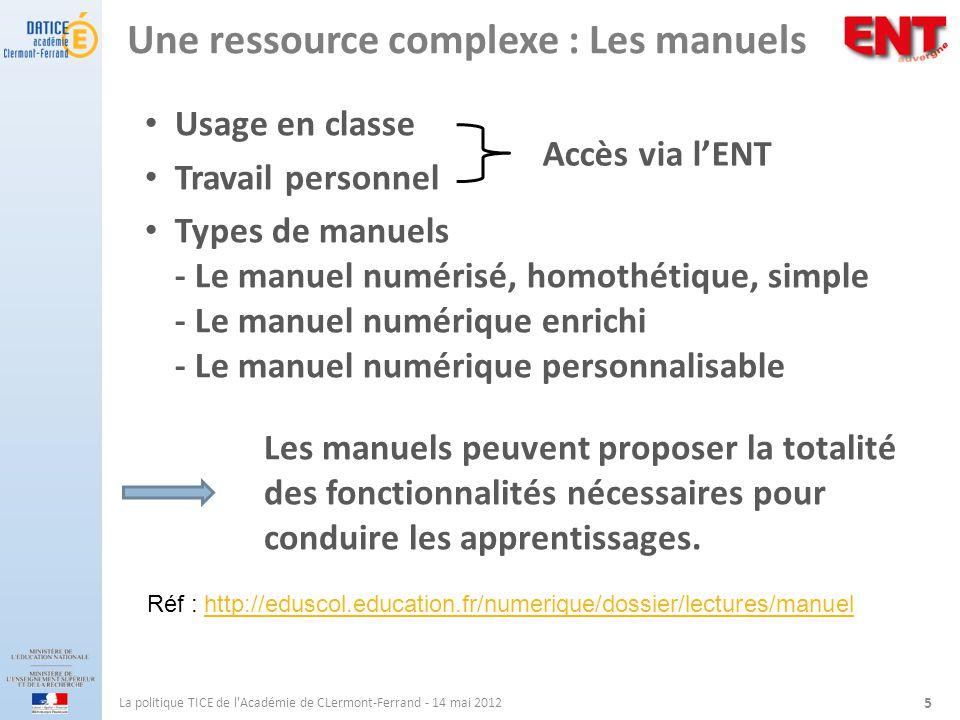 Une ressource complexe : Les manuels Usage en classe Travail personnel Types de manuels - Le manuel numérisé, homothétique, simple - Le manuel numériq