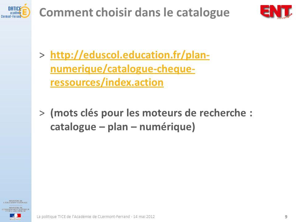 Comment choisir dans le catalogue ˃http://eduscol.education.fr/plan- numerique/catalogue-cheque- ressources/index.actionhttp://eduscol.education.fr/pl