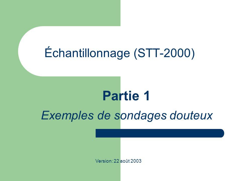 Échantillonnage (STT-2000) Partie 1 Exemples de sondages douteux Version: 22 août 2003