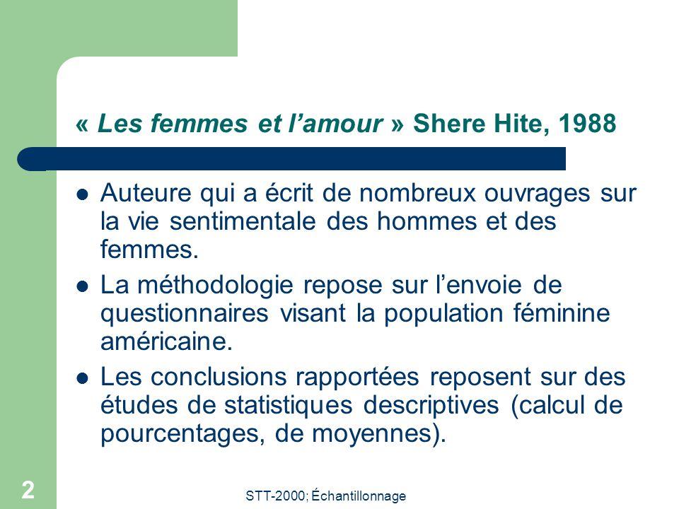 STT-2000; Échantillonnage 2 « Les femmes et lamour » Shere Hite, 1988 Auteure qui a écrit de nombreux ouvrages sur la vie sentimentale des hommes et d