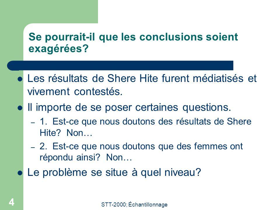 STT-2000; Échantillonnage 4 Se pourrait-il que les conclusions soient exagérées? Les résultats de Shere Hite furent médiatisés et vivement contestés.