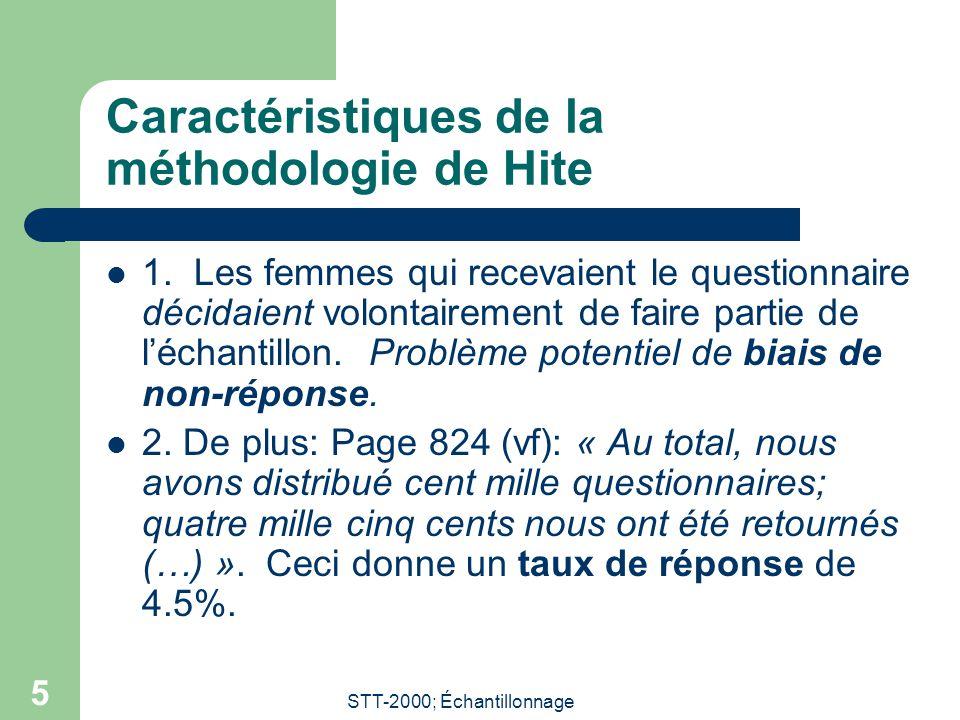 STT-2000; Échantillonnage 5 Caractéristiques de la méthodologie de Hite 1. Les femmes qui recevaient le questionnaire décidaient volontairement de fai