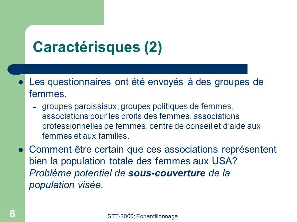 STT-2000; Échantillonnage 6 Caractérisques (2) Les questionnaires ont été envoyés à des groupes de femmes. – groupes paroissiaux, groupes politiques d