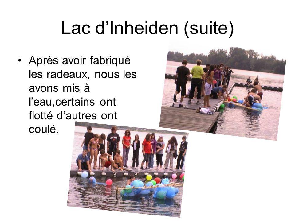 Lac dInheiden (suite) Après avoir fabriqué les radeaux, nous les avons mis à leau,certains ont flotté dautres ont coulé.
